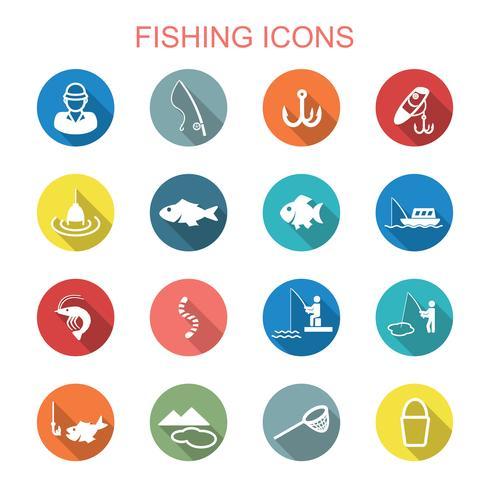 pesca lunga ombra icone vettore