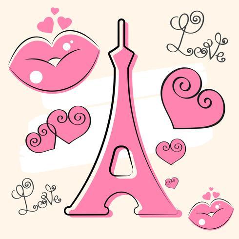 Iscrizione disegnata a mano di vettore di Parigi e torre di Eiffer. Elemento di design per carte, banner, volantini, Parigi lettering isolato su sfondo bianco.