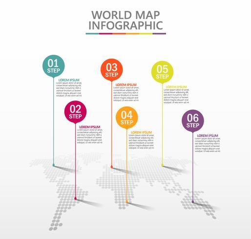 Mappa del mondo degli affari. Icone infographic di cronologia progettate per modello astratto della priorità bassa. vettore