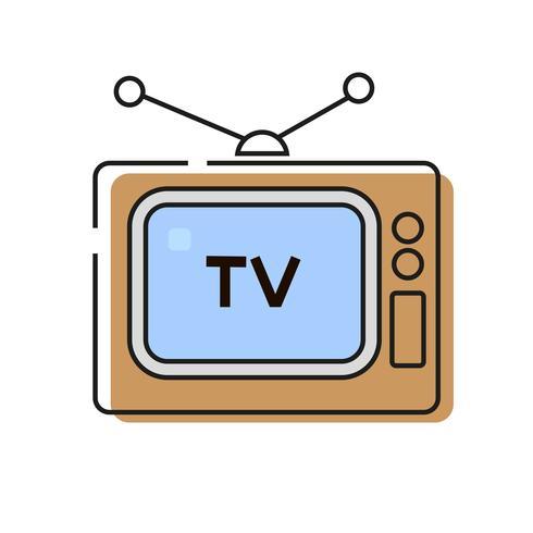 Stile di vettore dell'icona della televisione pronto per il vostro disegno, cartolina d'auguri, insegna.
