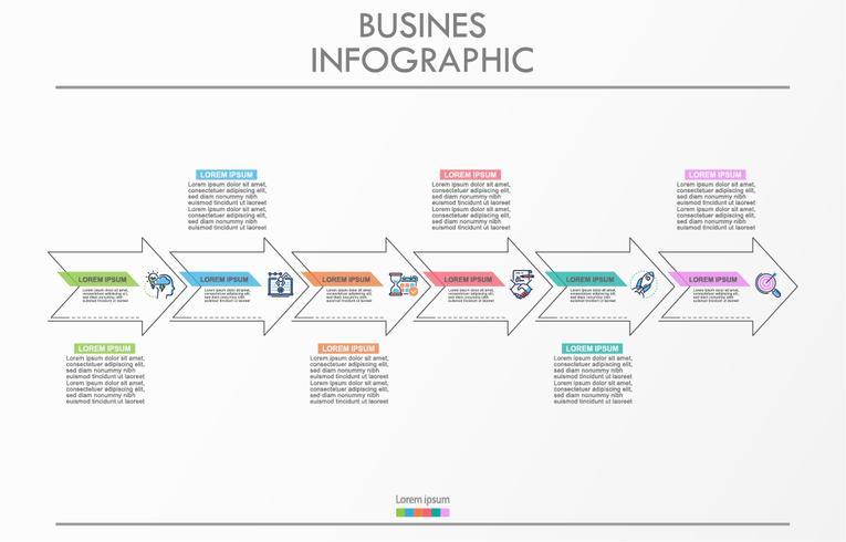 Visualizzazione dei dati aziendali. Icone infographic di cronologia progettate per modello astratto della priorità bassa. vettore