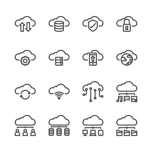 Insieme dell'icona di tecnologia della nuvola. Illustrazione di vettore