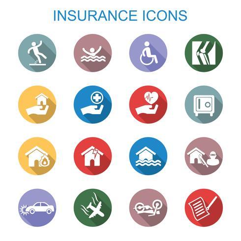 assicurazione lunga ombra icone vettore