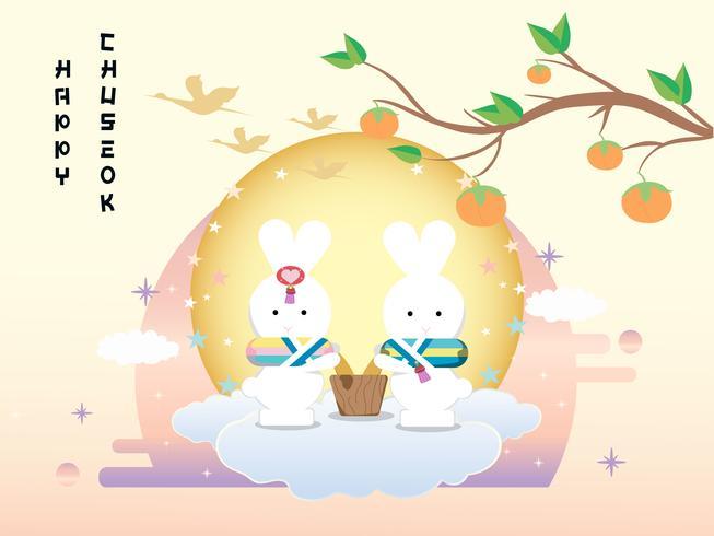 Insegna di Chuseok design.persimmon albero sul fondo di vista della luna piena. vettore
