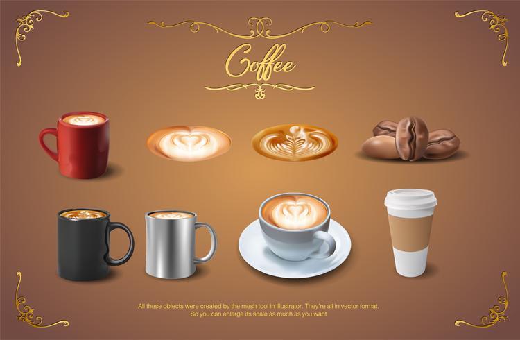 Insieme realistico di clipart del caffè vettore