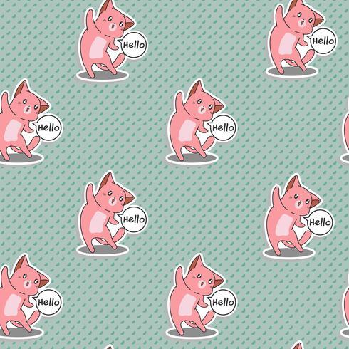 Il gatto rosa senza cuciture dice ciao il modello. vettore