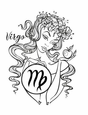 Segno zodiacale Vergine una bella ragazza. Oroscopo. Astrologia. Colorazione. Vettore. vettore