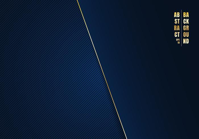 Le linee diagonali del modello astratto hanno barrato il fondo e la struttura di pendenza blu scuro con la linea e lo spazio dorati per il vostro testo. Stile di lusso Puoi usare per la tua azienda. vettore