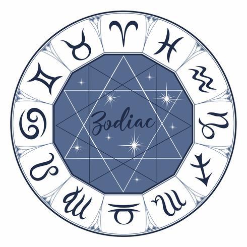 Zodiaco. Segni. Simbolo astrologico Oroscopo. Astrologia. Mistico. Vettore. vettore