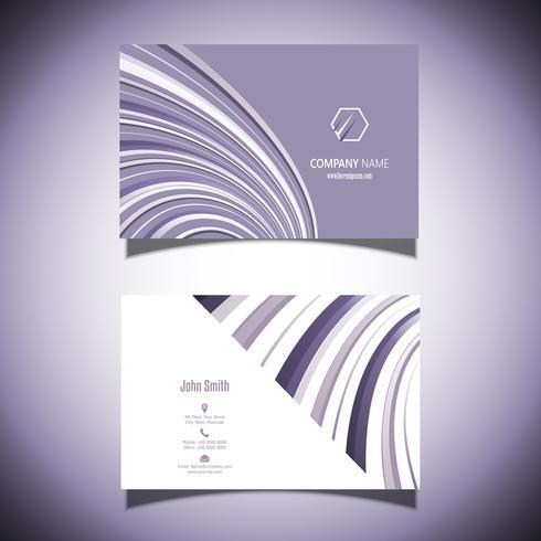 Biglietto da visita con un disegno a strisce viola vettore