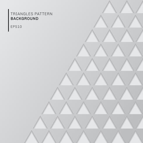 Il modello astratto dei triangoli grigi su carta bianca del fondo ha tagliato lo stile con lo spazio della copia. Carta da parati geometrica moderna. vettore