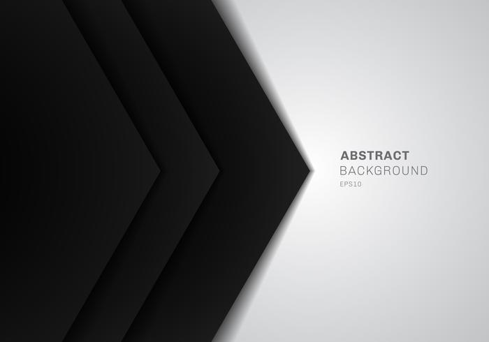 Triangolo nero del modello 3D astratto con colore di gradiente di strato di carta di sovrapposizione su fondo bianco con lo spazio della copia. vettore
