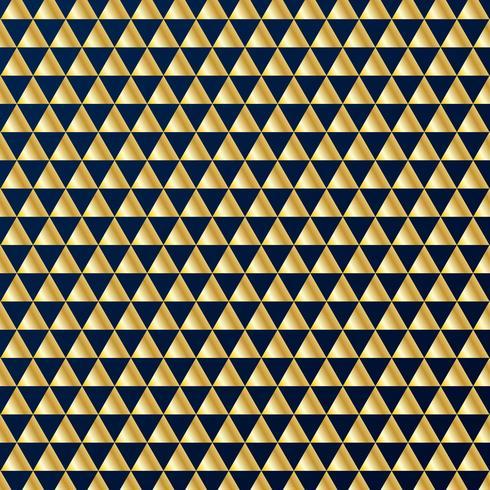 Modello senza cuciture di lusso dei triangoli geometrici dell'oro su fondo blu scuro. Colori oro e blu elementi di design per eleganti progetti festivi e premi. vettore