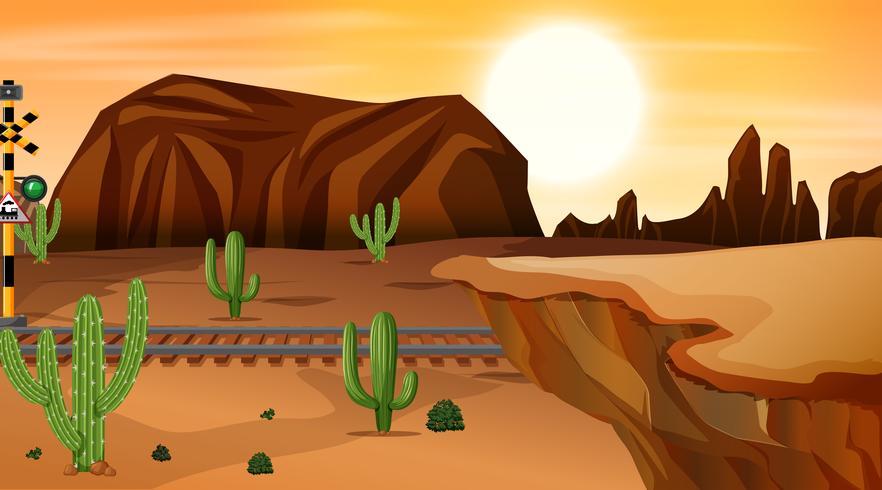 Una calda scena nel deserto vettore