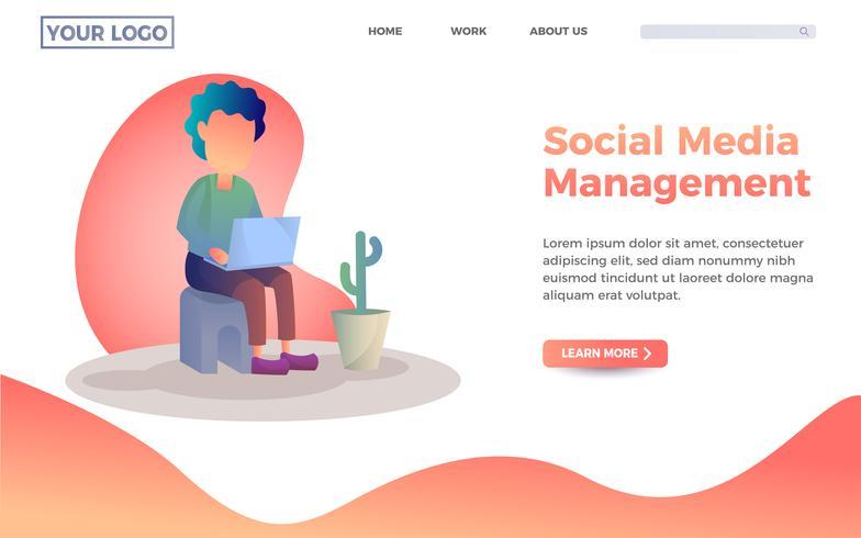 Modello di pagina di destinazione per la gestione dei social media. Un ragazzo che gioca con la sua illustrazione portatile vettore