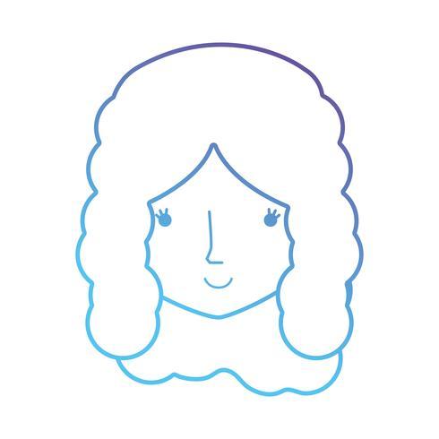 linea avatar donna testa con acconciatura vettore