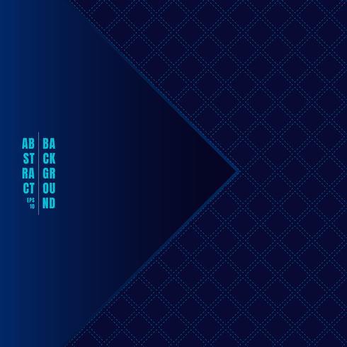 Modello geometrico classico astratto dei quadrati del modello su stile di lusso del fondo blu scuro con l'etichetta del triangolo. Linee tratteggiate che si ripetono con una trama quadrata. vettore