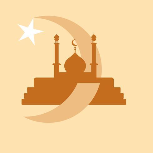 Moschea islamica moderna Logo vettoriale e icona su sfondo color crema
