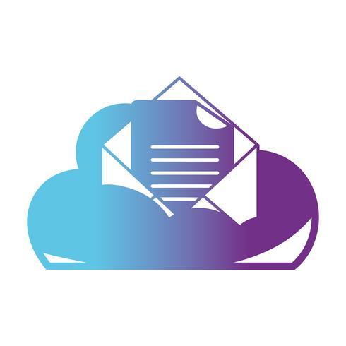 linea dati cloud e carta con informazioni sul documento vettore