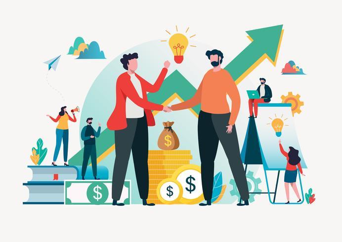 Concetto di investimenti finanziari Assistente commerciale illustrazione vettoriale. vettore