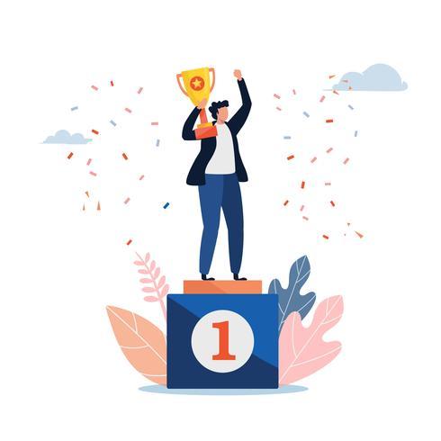 L'uomo in piedi su un piedistallo dei vincitori con una coppa d'oro. illustrazione vettoriale. Personaggio dei cartoni animati piatto vettore