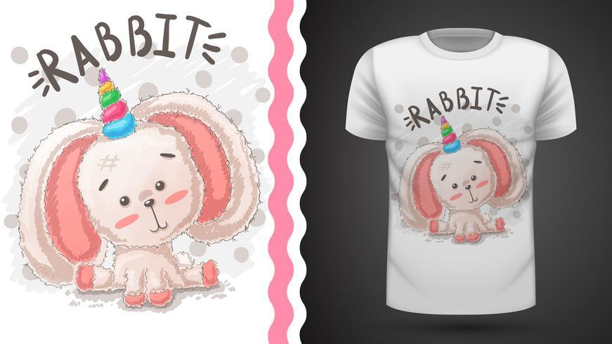 Coniglio, unicorno - idea per t-shirt stampata. vettore