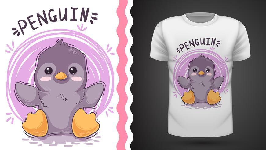 Simpatica idea di pinguino per t-shirt stampata. vettore