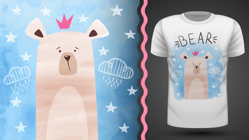 Orso acquerello - idea per t-shirt stampata. vettore