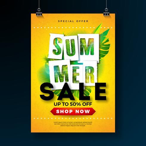 Modello di progettazione del manifesto di vendita di estate con le foglie di palma e la lettera di tipografia tropicali su fondo giallo. Illustrazione vettoriale di vacanza per offerta speciale