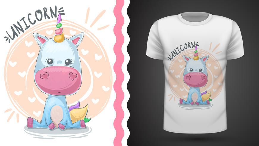 Carino unicorno - idea per la t-shirt stampata vettore