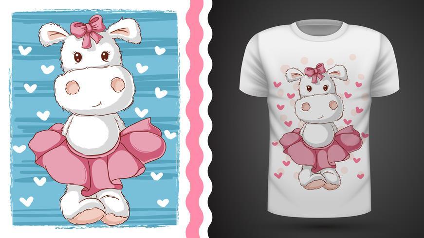 Ippopotamo carino - idea per t-shirt stampata vettore