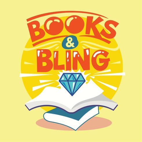 Libri e frase di Bling Illustration. Ritorno a scuola citazione vettore