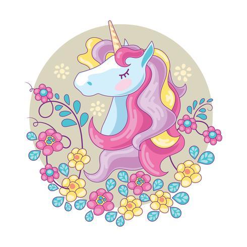 Bello unicorno magico con il fondo del fiore vettore