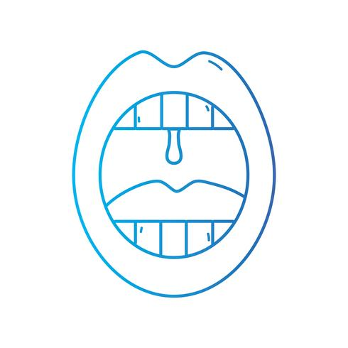 linea bocca con malattia da infezione da freddo vettore