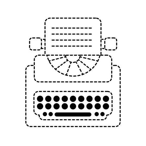 attrezzature di macchina da scrivere retrò forma punteggiata con documento aziendale vettore