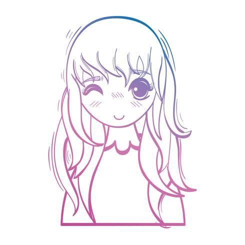 linea bellezza ragazza anime con taglio di capelli e camicetta vettore
