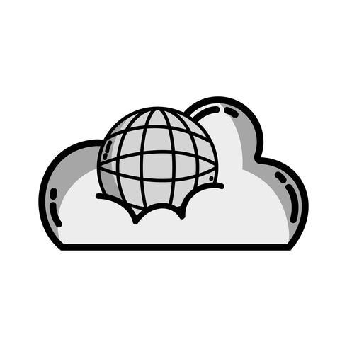 dati cloud in scala di grigi con server di connessione globale vettore