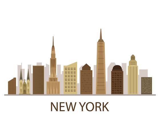 Orizzonte di New York su una priorità bassa bianca vettore