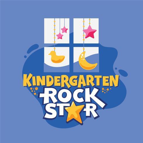 Frase del rock star di asilo, finestra con l'anatra e fondo delle stelle, di nuovo all'illustrazione della scuola vettore