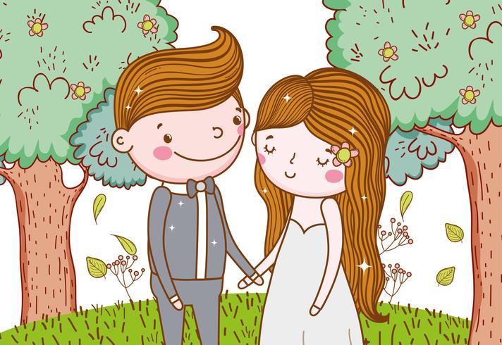 uomo e donna con alberi fiori e foglie vettore