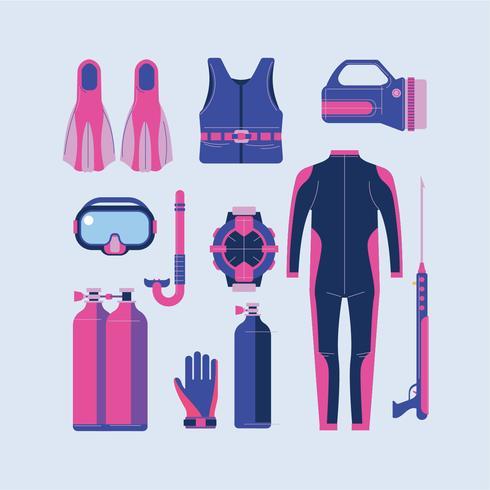 Set di elementi per lo snorkeling e lo scuba diving vettore