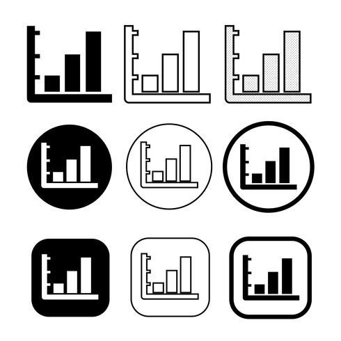 Semplice set di icone diagramma e grafico vettore