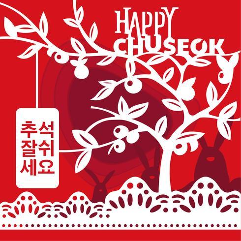 Mid Autumn Festival in stile art paper. Autunno Mid coreano. Le parole in coreano significano buon tempo per Chuseok vettore