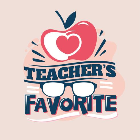 Frase preferita dell'insegnante, Apple Love with Eyeglass, Back to School Illustration vettore