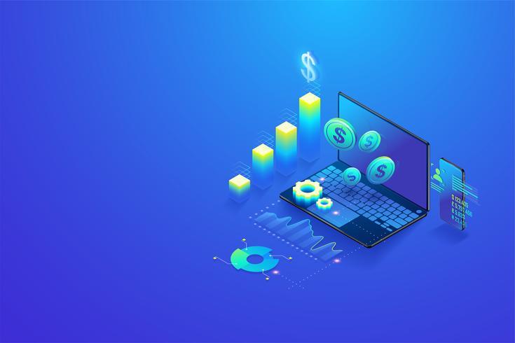 Investimenti isometrici e finanza virtuale, gestione del marketing per investimenti, analisi e pianificazione del concetto su computer e schermo mobile vettore