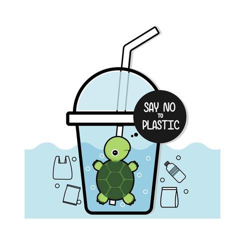 Tartaruga in bottiglia. Dire NO alla plastica. Concetto di problemi di inquinamento. vettore