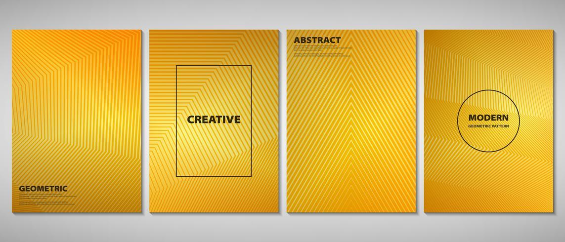 Opuscolo astratto dorato sfumato di linee geometriche di design moderno forma. È possibile utilizzare per annunci, opuscoli, set, opere d'arte. vettore