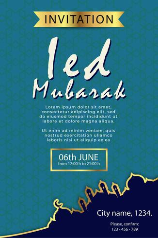 poster design moderno eid modello di mubarak vettore