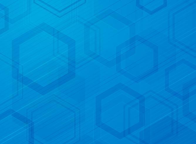 Fondo di progettazione moderna del modello di esagono blu di tecnologia astratta. Decorare il design della dimensione del colore usando per pubblicità, poster, brochure, copia spazio, stampa, copertina. vettore
