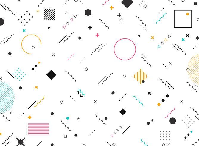 Forme funky di forme geometriche astratte del fondo moderno variopinto del modello. È possibile utilizzare per il design moderno di nuovi elementi di design, copertina, annuncio, poster, stampa. vettore